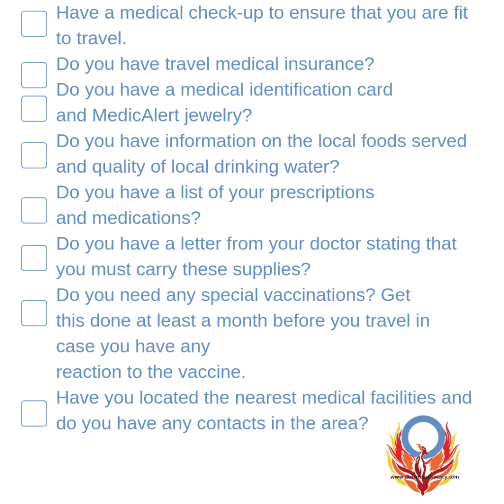 checklist for travel with diabetes
